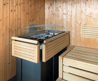Auf dem Bild ist ein Elektro Saunaofen in einer Sauna.